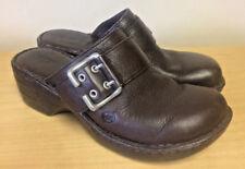 BOC Born BROWN Buckle Leather Slip-On Clog Mule Slide Loafer Women's Sz 8