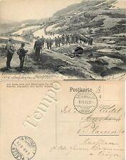 Colonna di militari in marcia sulle Alpi - 1904