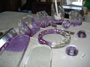 vtg blown glass bath set accessories towel ring/tp holder/hooks/shelves purple