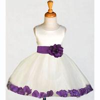 IVORY WEDDING FLOWER GIRL DRESS RECITAL TULLE TODDLER 12-18M 2 3T 4 5T 6 8 10 12