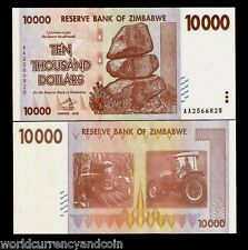 ZIMBABWE 10000 DOLLARS P72 2008 10,000 *AA* UNC RARE CURRENCY MONEY BANK NOTE