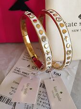 "NWT Kate Spade Enamel Bangle ""Spot The Spade"" Gold and White Bracelet MSRP $48"