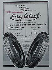 PUBLICITE ENGLEBERT PNEU POIDS LOURDS CAMION AUTOBUS TRACTEUR DE 1929 FRENCH AD