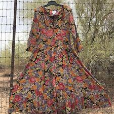 Vintage 90s Grunge Long Floral Button Front Dress Size 1 Punk Boho