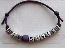 PERSONALIZED BIG SISTER FRIENDSHIP BRACELET WOODEN BEAD ON A MAUVE CORD