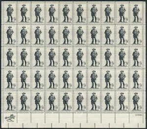 US Stamp - 1964 Sam Houston - 50 Stamp Sheet - Scott #1242