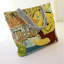 Women knitting Canvas Shoulder Bag Winnie the Pooh Handbag Shopping Bag Hobo Bag