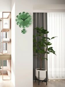 NA365 CA013ND38N-S -Modern Style Artistic Clover-Shaped Metal Wall Clock -Green