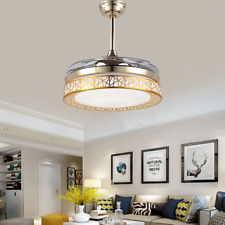 """New Listing42"""" Invisible Ceiling Fans with 3-Color Led Light Gold Remote Control Chandelier"""
