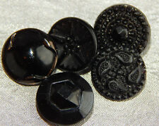 Lot of Antique Vintage Black Glass Buttons Brass Shank #821-A