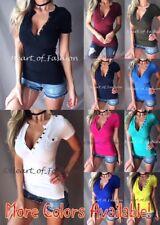 b77091a0e2 Women s Low Cut Deep Button V-Neck Stretch Short Sleeve Henley Top Tee Shirt