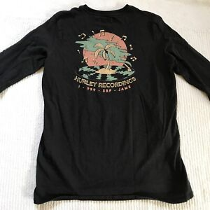 Hurley Long Sleeve Shirt - Boys Medium Hurley Recordings Surf Jams Black Top