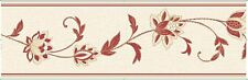Floral Red Cream Textured Wallpaper Border Detail Fine Decor Annabell 173mm 5m