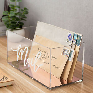 Clear Acrylic Tabletop Mail Storage Holder Box with Rose Gold Mirror Base