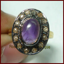 Cut Diamond Amethyst Engagement Ring Hand-Made Estate Silver Antique 0.40ct Rose