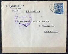 NEDERLAND; Censuurbrief vanuit BILBAO Spanje 25 okt 1939
