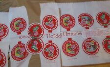 7 VINTAGE 1980 STRAWBERRY SHORT CAKE CHRISTMAS ORNAMENTS STUFF & SEW KIT NOS
