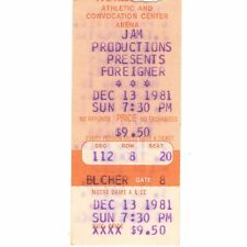 FOREIGNER & MICHAEL STANLEY BAND Concert Ticket Stub 12/13/81 NOTRE DAME 4 TOUR