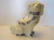 "IRONSTONE Spaniel DOG W/FLOWERS EMPRESS Staffordshire England White 9.5"" tall"