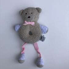 Mudpie Bear Lovey Security Object Bell Rattle Pink Tan Mud Pie Soft Baby Toy