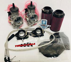 Banshee 28mm 28 Mil PWK Dual Carbs Carb Carburetor Complete Kit Cable Manifold