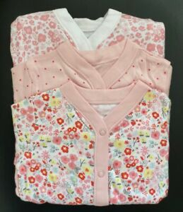 Ex Store Baby Girl 3 Pack Pink Floral Flower Sleepsuits Presentation Pack 0 - 24