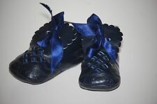 Rare NINA RICCI Paris Navy Leather Baby Shoes (Eu Sz 20)