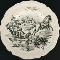 Dinner Plate by Tabletops Unlimited New England Toile Coaching Black and White