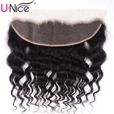 UNice 13X4 Lace Frontal 100% Malaysian Natural Wave Human Hair Lace Closure Wavy