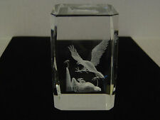 RECTANGULAR CRYSTAL EAGLE IN FLIGHT AFTER RABBIT PAPERWEIGHT