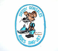 New Vintage Embroidered Speedy Gonzales Rides Sno-Jet Snowmobile Patch (Nos)