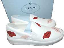 Prada Skate Sneaker Flats White Leather Slip On Shoes 39 Lip-Appliqued