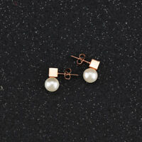 Cute Smooth Cube Pearl Rose Gold GP Surgical Stainless Steel Stud Earrings Gift