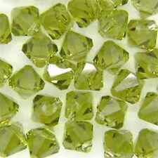 10 GENUINE SWAROVSKI 8MM 6301 TOP DRILLED OLIVINE SATIN