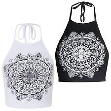New Ladies Mandela Print Tie Up Halter Neck Summer Vest Top 8-14