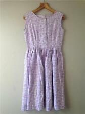 Vintage 1950s/60s Abstract Check Print Cotton Lilac Day Dress UK8 10 12 S