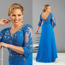 3/4 Sleeve Plus Size Mother of the Bride Dresses Evening Lace Wedding Party Gown