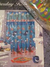 Saturday Knight Saltwater Splash Vinyl Shower Curtain &12 Fish Hooks New