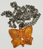 Vintage Amber Lucite Butterfly Mold Carved Pendant & Necklace Chain Retro Boho