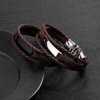Unisex Cool Bracelet Men Leather Belt Boat Anchor Wristband Bangle Fashion NEW