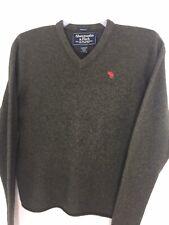 Abercrombie & Fitch M Medium Mens Lambs Wool V Neck Sweater Dark Brown Green