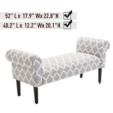 Elegant Rolled Arm Bench Bedside End of Bed Footstool w/ Arms 2 SIZE
