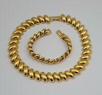Vintage Napier Gold Tone Necklace And Bracelet
