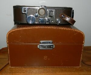 Vintage Keystone Model A-12 used movie camera 8MM with case for parts or repair