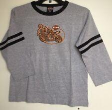 Harley-Davidson Boys Gray Baseball Style 3/4 sleeve shirt size 14-16