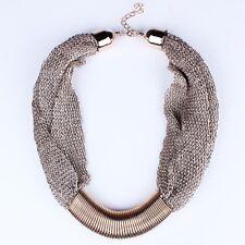 Personality Rock Punk Womens Bib Statement Collar Chain Necklace Fashion Jewelry