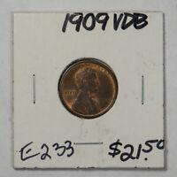 1909 V.D.B. 1c LINCOLN WHEAT SMALL CENT LOT#E233