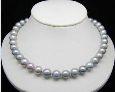 "HUGE AAA 9-10MM ROUND SOUTH SEA GENUINE GRAY PEARL NECKLACE 18"" 14K Gold Clasp"