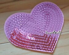 2pcs Baby PINK Heart Iron on Transfer Sequin Embroidered Patch Applique