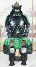 Hierro y seda japonesa vestir Rüstung Samurai Armor Verde y Negro Japanese O08